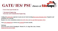 Registrations open for fresh batch from October 2013 for GATE 2014. Join the best program for GATE coaching in Chandigarh/Patiala. Get your seats booked today!! Call us to register yourself for a free orientation session on 20th and 27th September 2013. Contact EduGaps, SCO 210, Sector 36, Chandigarh, or call us at +91-98148-22278 for more details.