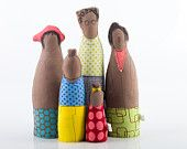 Proud family - mother, mom and child. African family dressed in neon pink, green, checkered, flowers, and points custom dolls are welcome. $90.00, via Etsy.