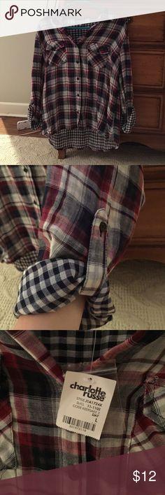 Plaid shirt Never been worn Charlotte Russe Tops Button Down Shirts