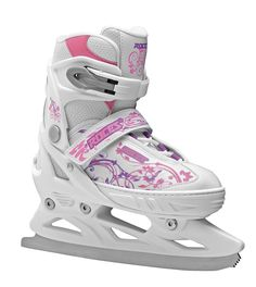 """JOCKEY ICE GIRL • PE shell and cuff • Laces, Velcro and microadjustable buckle • """"Growth compensator"""" shell and liner • Anatomic thermalinsulation liner • Carbon steel figure blade Shop now at shop.roces.com"""