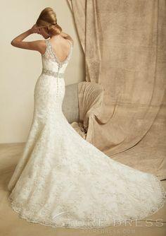 Top Fashion Trumpet / Mermaid V-neck Appliques Sash / Ribbon Lace Wedding Dress - Storedress.com