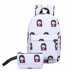 Girl Shrug Emoji Backpack and Pouch