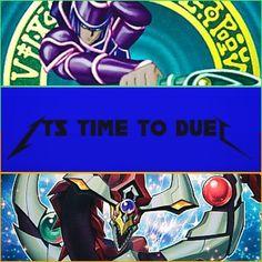 Classic Yu-Gi-Oh! (Dark Magician) & Arc V Standard Dimension (Odd-Eyes Pendulum Dragon): It's Time To Duel! [Metallica Font]. #collage #metallica #font #catchphrase #blue #dark #anime #yugioh #limegreen #spellcaster #darkmagician #yugioharcv #orange #dragon #pendulum #oddeyespendulumdragon