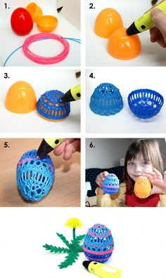 The eastereggs make with 3D pen - spring egg - filament - 3D DYI creative #3dprintingprojects