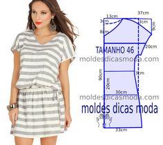 VESTIDO RISCAS CASUAL - Moldes Moda por Medida