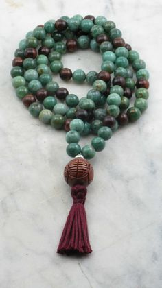 Anahata Mala Beads  Jade and Rosewood Buddhist by SaltSpringMalas