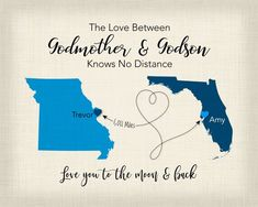 Long Distance Godson Gift Baptism For First Birthday 2 Place Map Canvas