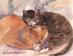 Chats Kitties Cat Kitty Cute Kitten doux Red Tabby Couple Aquarelle Peinture - Couple Doux par Yuliya Podlinnova