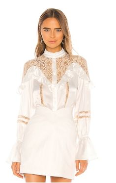 Shop for Divine Heritage Lace Inset Blouse in Ivory & Tea Stain Lace at REVOLVE. Pop Fashion, Fashion Brands, Fashion Women, House Of Blouse, Sequin Gown, Lace Inset, Swimwear Fashion, Revolve Clothing, Lace Detail