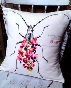 Botanical Bug Floral Pillow Cover cotton and burlap by JolieMarche