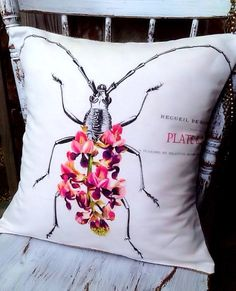 Botanical Bug Floral Pillow Cover cotton and burlap by JolieMarche