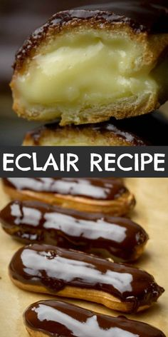 This Classic Eclair recipe is a Pate a Choux based hollow pastry shell filled with creamy custard, then dipped into a shiny chocolate glaze. Simple, yet sophisticated and all around delicious Chocolate Eclair Recipe! Classic Eclair Recipe, Easy Eclair Recipe, Chocolate Eclair Recipe, Best Chocolate Desserts, Delicious Chocolate, Chocolate Glaze, Chocolate Eclairs, Best Dessert Recipes, Easy Desserts