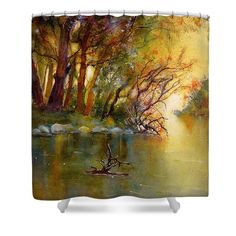 River Rhine in Autumn Shower Curtain by Sabina Von Arx. This shower curtain is made from polyester fabric and includes 12 holes at the top of the curtain for simple hanging. The total dimensions of the shower curtain are wide x tall. Mini Paintings, Watercolor Paintings, Yellow Bathroom Decor, Autumn Lights, Over The River, Curtains For Sale, Warm Autumn, Shower, Art Prints