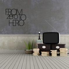 Napis na ścianę FROM ZERO TO HERO czarny – DekoSign