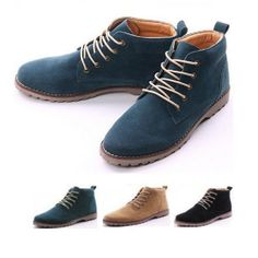 Mens Fashion Casual Lace Suede Ankle Boots Loafers Shoes Sneakers