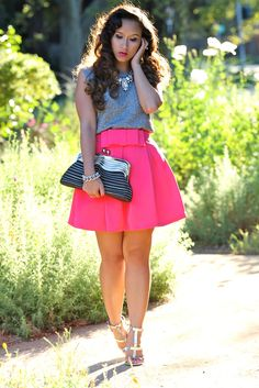 Double Bow Skater Skirt in Pink