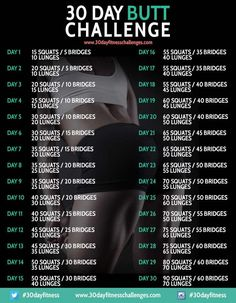 Complete the 30 Day Butt Challenge Fitness Workout this month and get that tight butt you always wanted. 30 Day Fitness Challenges is ...
