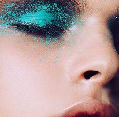 Turquoise high fashion makeup