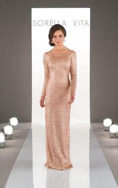 8848 Elegant Long-Sleeved Sequin Bridesmaid Gown by Sorella Vita Bridesmaid  Dress Styles 132a28e3af60