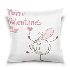 20X 20Lovely Happy Valentines Day Cartoon Print Cotton Velvet Decorative Throw Pillow Cover Cushion Pillowcase ** This is an Amazon Affiliate link. To view further for this item, visit the image link.