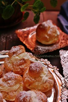 These Persian Cream Puffs are delicate pastry shells filled with fluffy whipped cream that is lightly sweetened with sugar and gently perfumed with vanilla and rosewater for a an amazing flavor.