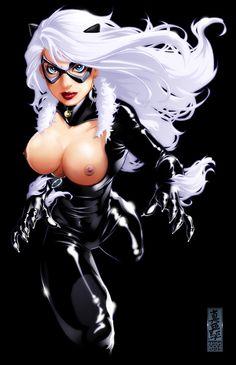 Cat nude black art fan
