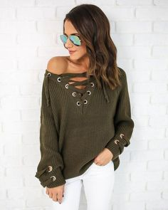 Merry Me Lace Up Sweater - Dark Olive