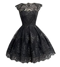 5daad248fbd Amazon.com  Chuanqi Women s Lace Flare Swing Party Dresses  Clothing