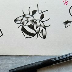 cute little bee tattoo flash design by nico di pisarro