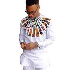 African Shirts For Men Dashiki Shirts Kitenge Shirt White – LeStyleParfait.Com