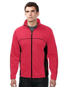 Tri-Mountain Westwood Men's 5.8 oz. Lightweight Polyester Performance Fleece Jacket featuring Tri-Mountain UltraCool® moisture wicking technology. Contrast panels and piping provide a sporty look. Accented with front pockets. Available in Black/Silver/Red, Navy/Silver/Yellow Gold and Red/Black/Black. #outerwear #jackets