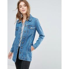 Brave Soul Acer Longline Denim Jacket ($39) ❤ liked on Polyvore featuring outerwear, jackets, blue, long line jacket, stitch jacket, pocket jacket, denim jackets and jean jacket
