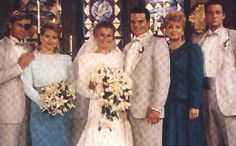 Justin and Adrienne's Wedding 1990 Steve, Kayla, Adrienne and Justin Kiriakis, Jo Johnson, & Jack Deveraux Days of Our Lives Miss The Old Days, The Good Old Days, Real Movies, Tv Soap, Days Of Our Lives, Bridesmaid Dresses, Wedding Dresses, 25th Anniversary