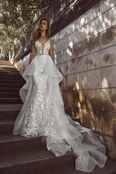 0bbfc04c1bf2 Eslieb High-end custom made Mermaid V-NECK Wedding dress 2019 Detachable  train wedding