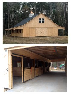 36x48 High Profile modular horse barn.  Includes:  2-8' overhangs, 4 - 12x12 stalls, 12x12 tack/feed room, 12x12 lined wash stall, 12x24 living quarters on the first floor and a full loft up above.  Topped of with a beautiful copper roofed cupola with a copper horse weathervane!  Built for our customer in Mount Pleasant, SC.