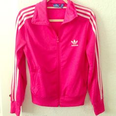 Hot pink adidas track jacket Hot pink track jacket, in great condition, barely worn! Hot pink/white stripes. Adidas Jackets & Coats