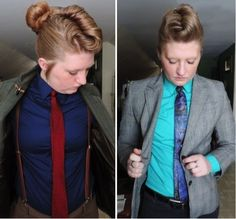 link goes to how to get rid of boob-gap in a button-down, but look how cute she did the front part of her hair for her bun!