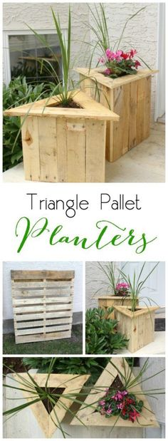 Triangle Pallet Planters - Easy tutorial for turning a pallet into two chick outdoor planters! Great pallet project!