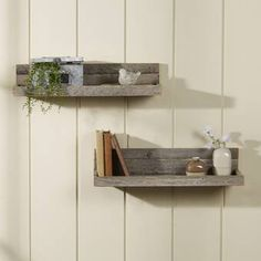 2 Piece Reclaimed Floating Shelf Set by Laurel Foundry Modern Farmhouse Wood Floating Shelves, Wood Shelves, Display Shelves, Shelving, Home Decor Wall Art, Home Decor Furniture, Bedroom Decor, Tv Wand, Kitchen Wall Colors