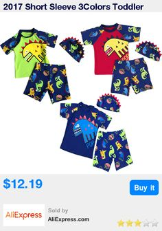 2017 Short Sleeve 3Colors Toddler Boys Dinosaur Swimsuit 3Pcs Tops+Shorts With Hat Bather Surfing Beachwear Swimwear 2-7Y * Pub Date: 15:31 Apr 9 2017