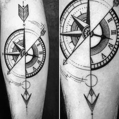 40 Geometric Compass Tattoo Designs For Men - Cool Geometry Ideas - Man Style Arrow Compass Tattoo, Compass Tattoo Design, Arrow Tattoos, Time Tattoos, Body Art Tattoos, Sleeve Tattoos, Trendy Tattoos, Tattoos For Guys, Maritime Tattoo