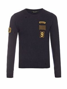 MARC JACOBS Patch-Appliqué Crew-Neck Wool Sweater. #marcjacobs #cloth #sweater