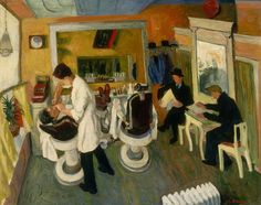 In the Barber Shop  (1934) -   Ilya Bolotowsky, oil on canvas
