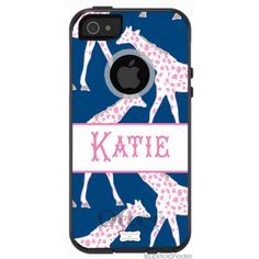 Monogrammed OtterBox iPhone Case by Lipstick Shades - Galloping Giraffes - Select your Colors! ($69.95)