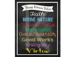 Darling new Young Women Values Printable - perfect for leaders to give the girls for their birthdays!  - buy on Etsy