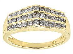 White Diamond 10k Yellow Gold Ring 2.00ctw - RGD022   JTV.com Gold Band Ring, Gold Bands, Diamond Rings For Sale, Types Of Rings, Princess Cut Diamonds, Diamond Gemstone, Gold Material, Yellow Gold Rings, Cuff Bracelets