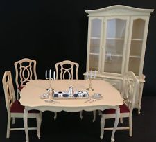 Vintage Barbie Doll Sindy Furniture Dining Room Set China Cabinet Table 4 Chairs