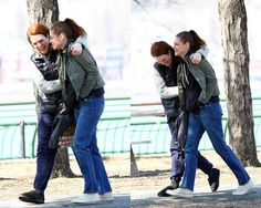 "Kristen with Julianne Moore on the set of ""Still Alice"" on March 14, 2014"