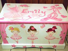 Ballerina Toy Box Personalized Custom Designed Hand Painted And Hand Made Wooden…
