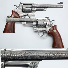 Smith & Wesson Model 24/ Model 1950 Target/ .44 Hand Ejector Fourth Model- We sometimes seem to favor .45s, so here's a chance for the .44 caliber crowd of enthusiasts to enjoy the spotlight. This engraved Smith & Wesson with a trio of good names; the Model 24, the Model 1950 Target and the .44 Hand Ejector Fourth Model. No matter what you elect to call it, this heavy frame double-action revolver from Springfield, Massachusetts offers all the bells and whistles.